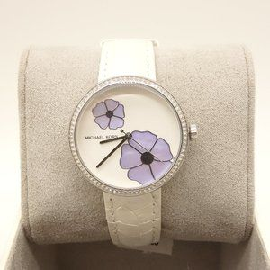 NWT MICHAEL KORS Courtney Watch White Leather Band